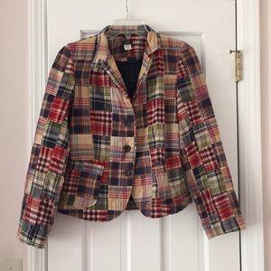 J. Crew Classic madras patchwork blazer